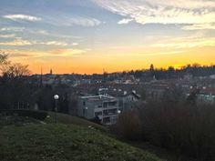Sunset above Zagreb - Ksaver street going towards Mirogoj cemetery