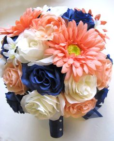 Peach Navy Blue Coral Daisy | Roses and Dreams