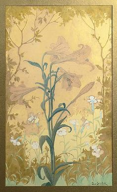 Samuel Schellink (Dutch, 1876-1958)  IRIS  Pencil and watercolour on paper, framed  64 x 38 cm.  Signed lower right