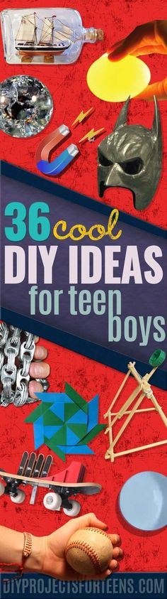DIY Projects for Boys - Cool Teen Crafts and Awesome Things for A Teenage Boy to Make At Home. Fun Ideas for Bored Teens To Make Cool Stuff   Room Decor, Gadgets, Phone, Gifts, Toys and Best Boyish Randomness http://diyprojectsforteens.com/diy-projects-for-teen-boys/