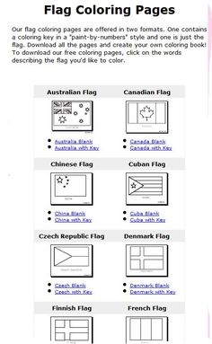 Flags of the world coloring pages with color key