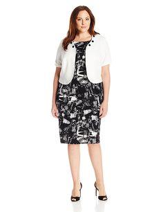 Maya Brooke Women's Plus-Size Scratch Print Jewel Neck Jacket Dress Set *** Wow! I love this. Check it out now! : Plus size dresses