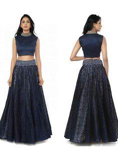 Versatile Midnight Blue Raw Silk Lehenga Choli