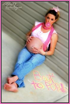 "i like this idea...you wouldn't necessarily have to show the belly.  the ""about to pop"" idea with the gum is what i love :)"
