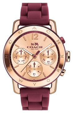 Free shipping and returns on COACH 'Legacy' Silicone Strap Watch, 36mm at Nordstrom.com. An embossed bezel and shining sunray dial lend posh touches to an elegant multifunction watch set on a sporty silicone strap.
