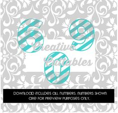 Striped Numbers for  Silhouette or other craft cutters (.svg/.dxf/.eps)