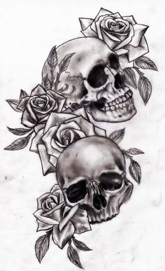 Image result for two skulls looking at each other tattoo