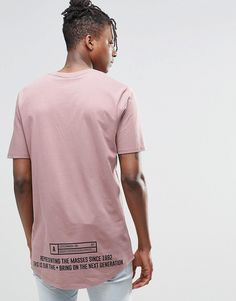 Image 2 ofASOS Super Longline T-Shirt With Curved Hem And Text Print In Pink