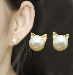 Cat Pearl Earrings