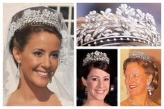 The Princess Dagmar Floral Tiara | A Tiara a Day-once owned by Princess Dagmar of Denmark, daughter of King Frederik VIII, who bequeathed the tiara back to the Danish Royal family; it has been worn exclusively by Princess Marie of Denmark since her marriage in 2008.   Photos (clockwise from top left): Princess Marie of Denmark; tiara detail; Queen Margrethe II of Denmark; Princess Marie of Denmark.