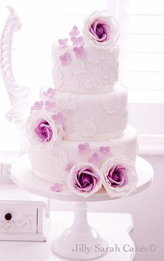 Purple Rose Wedding Cake