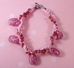 Pink Glass Beaded Wire and Thread Crochet Bracelet