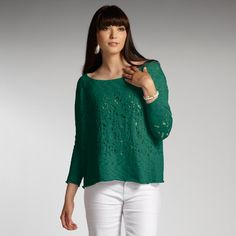 Womens organic cotton knit sweater blouse. Ethical fashion from INDIGENOUS. Color: emerald (kelly green).