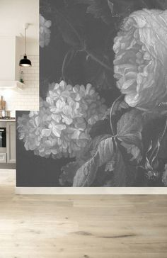 Fototapete Blumen Black & White Flowers, x 280 cm - KEK Amsterdam, Twin Bed Furniture, Box Bedroom, Modern Minimalist Bedroom, Black And White Flowers, Black White, Amsterdam, Burke Decor, Black Walls, Floor Decor