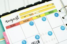 Taylored Expressions - August 2016 Monthly by Taylor VanBruggen #planner #calendar #schedule #stamping #diecutting #layout #design #colorful #planning #journal #organize #organization #priorities #month #week #day #customize