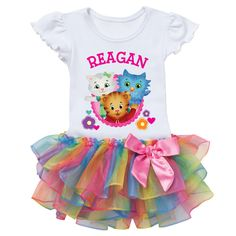 Daniel Tiger's Neighborhood Personalized Let's Play Rainbow Tutu Tee - Toddler Toddler Girl's, Size: Child, Multicolor Bubble Guppies Birthday, Birthday Tutu, Girl Birthday, Birthday Ideas, Frozen Birthday, Birthday Parties, Birthday Cake, Daniel Tiger Party, Daniel Tiger Birthday