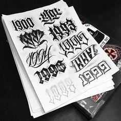 Number Tattoo Fonts, Tattoo Name Fonts, Tattoo Fonts Alphabet, Number Tattoos, Tattoo Lettering Styles, Chicano Lettering, Graffiti Lettering Fonts, Graffiti Tattoo, Tattoo Design Drawings