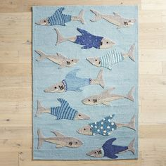 Sharks In Shirts 8x10 Rug Blue