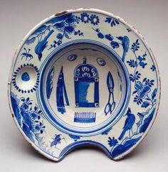 Barber's bowl, c.1720, Bristol, England, Delft (tin-glazed earthenware).