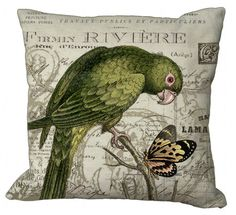 Green Parrot and Butterfly Pillow Cover. $35.00, via Etsy.