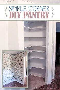 Add space and comfort with a simple DIY pantry Add space and convenience to your small kitchen with this simple DIY pantry! It has floor to ceiling shelves, a door and it fits perfectly into a corner. - Own Kitchen Pantry Kitchen Decorating, Diy Kitchen Decor, Kitchen Storage, Kitchen Ideas, Kitchen Shelves, Decorating Ideas, Kitchen Cabinets, Kitchen Furniture, Pantry Shelving
