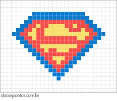 Superman logo hama perler beads pattern