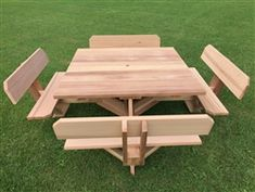 Pallet Table Plans - Our Most Unique Picnic Table! Western Red Cedar All Screw Construction Seats 8 Comfortably Table Top is Across Table Height Width x Weight 266 Octagon Picnic Table, Build A Picnic Table, Wooden Picnic Tables, Bbq Table, Patio Table, Pallet Tables, Foldable Picnic Table, Folding Picnic Table, Pallet Couch