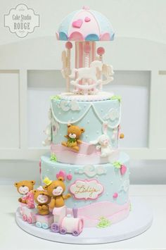 Baby Carousel Cake by by dianne Baby Girl Birthday Cake, Baby Girl Cakes, First Birthday Cakes, Deco Baby Shower, Baby Shower Sweets, Baby Shower Cakes, Fondant Cakes, Cupcake Cakes, Carousel Cake
