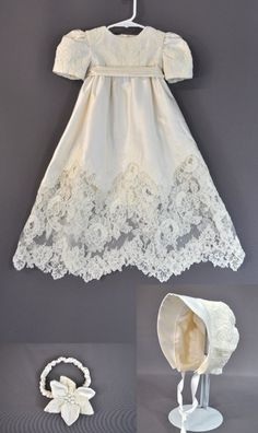 Embroidered lace from Mother's Wedding Dress Featured on Christening Gown