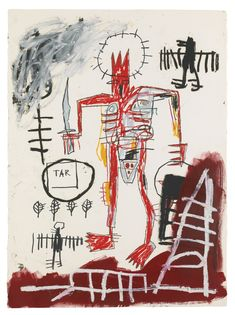 Jean-Michel Basquiat, Untitled, 1983. Acrylic with marker and oilstick on paper. On auction at Sotheby's New York November 11, 2014.