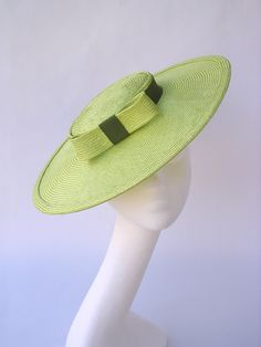 Hat straw green vintage style 1940 1950 pin up by EleanorHats