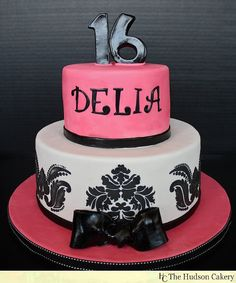Damask Sweet 16 Birthday Cake  by HudsonCakery, via Flickr