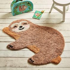 Happy Sloth Chill Zone Rug - Home Decoration Baby Sloth, Cute Sloth, Baby Otters, Nursery Rugs, Nursery Decor, Koala Nursery, Nursery Themes, Wall Decor, Lazy Animals