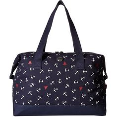 Tommy Hilfiger Canvas Toss Anchor Weekender (Navy) Duffel Bags ($30) ❤ liked on Polyvore featuring bags, luggage and navy