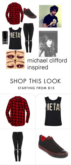 """""""michael clifford inspired"""" by oliviamalik13 ❤ liked on Polyvore featuring Wilfred Free, Topshop and Converse"""