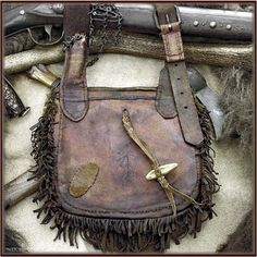 Late 1700's – early 1800's Shot Pouch with horn & accoutrements - BACK