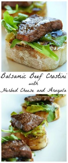 Balsamic Beef Crostini with Herbed Cheese and Arugula – Appetizers Easy Make Ahead Appetizers, Finger Food Appetizers, Appetizers For Party, Finger Foods, Steak Appetizers, Tapas Recipes, Beef Recipes, Appetizer Recipes, Cooking Recipes
