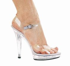 """going to need some of these this year!5"""" Fitness Model Clear Heels with a Strap.. only $39.99"""