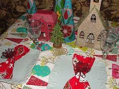 Aqua and pink mixed with red and green for a holiday table.  #Christmas