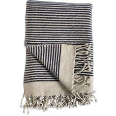 Nkuku Etawah Wool Throw - Cream & Navy featuring polyvore, home, bed & bath, bedding, blankets, blue, blue throw, striped wool blanket, navy blanket, navy blue bedding and dark blue throw blanket
