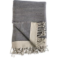 Nkuku Etawah Wool Throw - Cream & Navy featuring polyvore, home, bed & bath, bedding, blankets, blue, blue throw, striped wool blanket, navy blanket, navy blue bedding and dark blue throw blanket