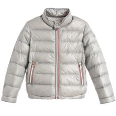 Moncler Silver Grey 'Rigel' Down Padded Jacket at Childrensalon.com