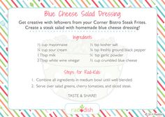 recipe for homemade blue cheese dressing = yum! Blue Cheese Salad, Blue Cheese Dressing, Toddler Meals, Kids Meals, Subscriptions For Kids, Leftover Steak, Steak Salad, Cooking With Kids, Kid Recipes