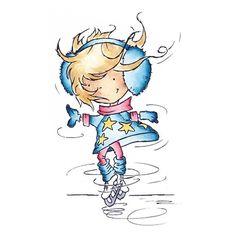 Tampon Dessin Fille patin à glace