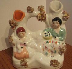 ANTIQUE STAFFORDSHIRE FIGURINE, Two Ladies in Garden Spill Vase