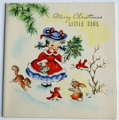 1940s vintage Christmas card for a little