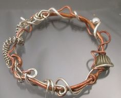 Bangle  Copper and Sterling Silver by Isajul by isajul on Etsy
