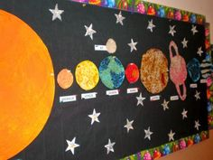 Bulletin Board for the Solar System Unit! Space Bulletin Boards, Summer Bulletin Boards, Classroom Bulletin Boards, Science Bulletin Boards, Classroom Activities, Space Solar System, Solar System Projects, Preschool Arts And Crafts, Preschool Science