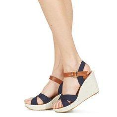 Sandalias de cuña azul marino con marrón