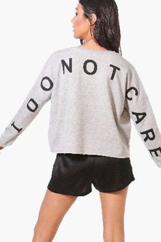 #boohoo I Do Not Care Lounge Top - grey LZZ90786 #Eva I Do Not Care Lounge Top - grey